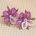 シルク イーネオヤ ピアス 桜(キャッチタイプ)ピンク&ホワイト