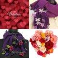送料無料<バレンタインパッケージ*パープル>刺繍のお花付きパシュミナとコットンストール