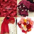 送料無料<バレンタインパッケージ*レッド>刺繍のお花付きパシュミナとコットンストール