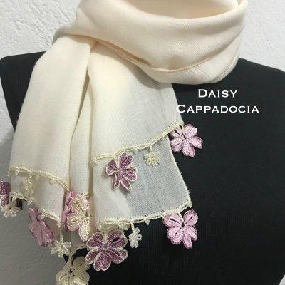画像4: トゥーオヤ コットンストール(綿100%)クリームとピンクのお花
