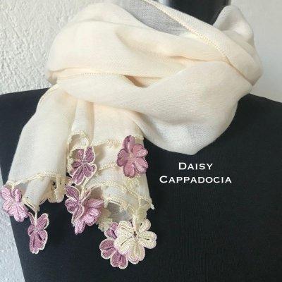 画像1: トゥーオヤ コットンストール(綿100%)クリームとピンクのお花
