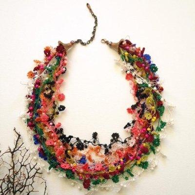 画像3: ビジューの刺繡ネックレス フラワー・ジュエル カラーズ
