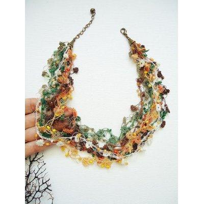 画像1: ビジューの刺繡ネックレス フラワー・ジュエル フォレスト