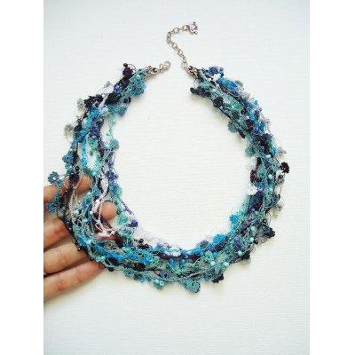 画像1: ビジューの刺繡ネックレス フラワー・ジュエル ブルー