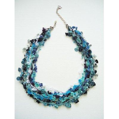 画像3: ビジューの刺繡ネックレス フラワー・ジュエル ブルー