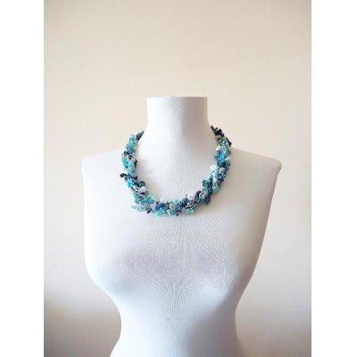 画像2: ビジューの刺繡ネックレス フラワー・ジュエル ブルー